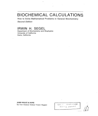 Biochemical Calculations Second Edition