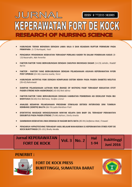 Jurnal Keperawatan Fort De Kock : Research of Nursing Science Volume 3 Nomor 2 Juni 2016