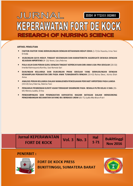 Jurnal Keperawatan Fort De Kock : Research of Nursing Science Volume 3 Nomor 3 November 2016
