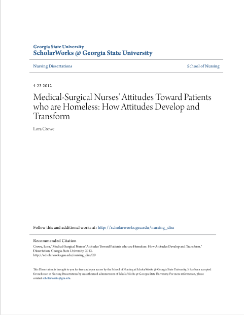 Medical-Surgical Nurses' Attitudes Toward Patients who are Homeless: How Attitudes Develop and Transform