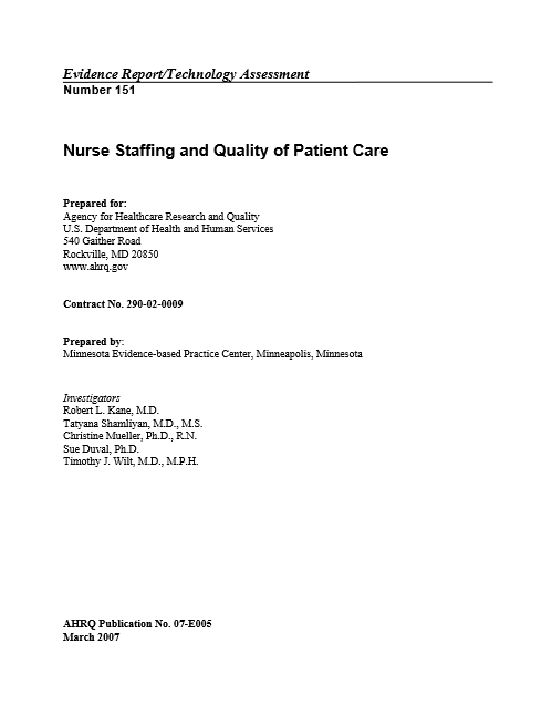 Nurse Staffing and Quality of Patient Care